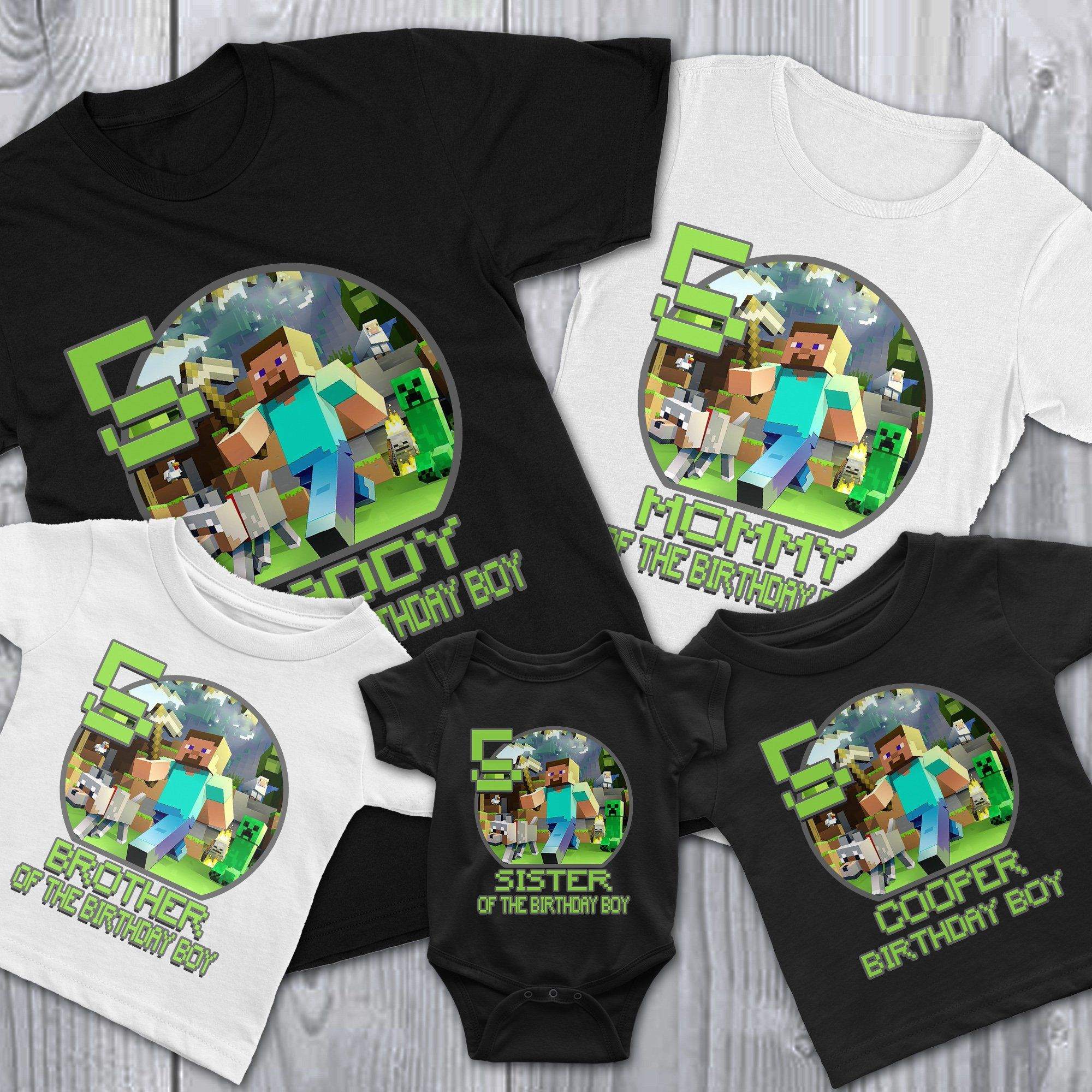 Load Image Into Gallery Viewer Personalize Minecraft Birthday Shirt