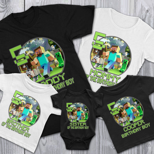 Personalize Minecraft Birthday Shirt