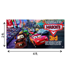 Personalized Cars Birthday Banner Weatherproofing