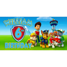 Load image into Gallery viewer, Custom Paw Patrol Birthday Banner Weatherproofing