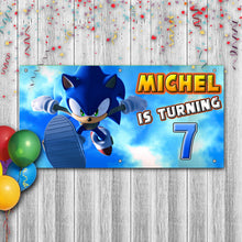 Load image into Gallery viewer, Personalized Sonic The Hedgehog Birthday Banner Weatherproofing