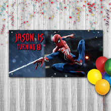 Load image into Gallery viewer, Personalized Spiderman Birthday Banner Weatherproofing