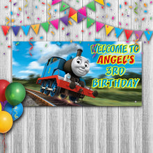 Load image into Gallery viewer, Personalized Thomas The Train Birthday Banner Weatherproofing