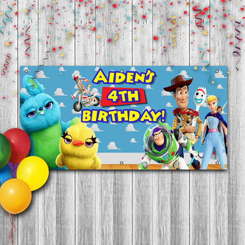 Personalized Toy Story Birthday Banner Weatherproofing