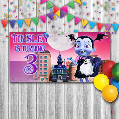 Personalized Vampirina Birthday Banner Weatherproofing