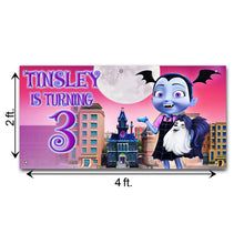 Load image into Gallery viewer, Personalized Vampirina Birthday Banner Weatherproofing