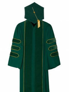 Emerald Green Doctoral Gown hood and Tam Customization with Gold Piping