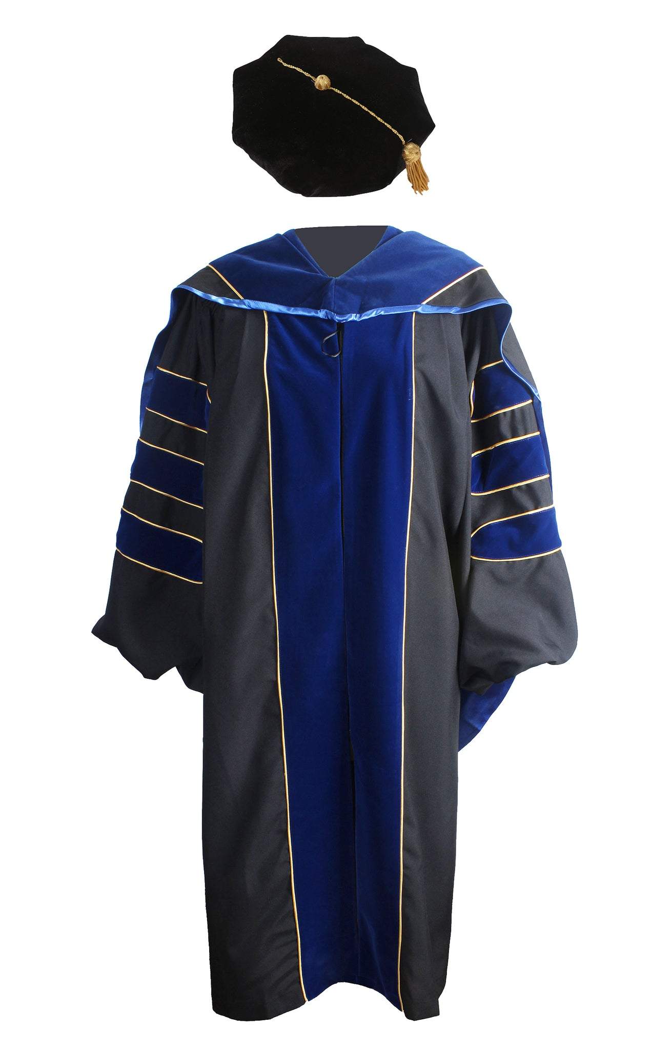 Deluxe Doctoral Graduation Gown,Phd Hood and 8-Side Tam Package Royal Blue