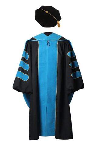 Deluxe Doctoral Graduation Gown,Phd Hood and 8-Side Tam Package Peacock Blue