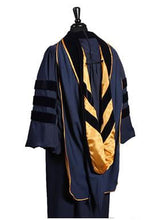 Load image into Gallery viewer, Deluxe Navy blue Doctoral gown,hood and tam package Customization