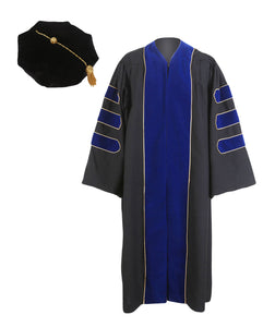 Deluxe Navy Blue Doctoral Gown,Hood, and 8-Side Tam Package Customization