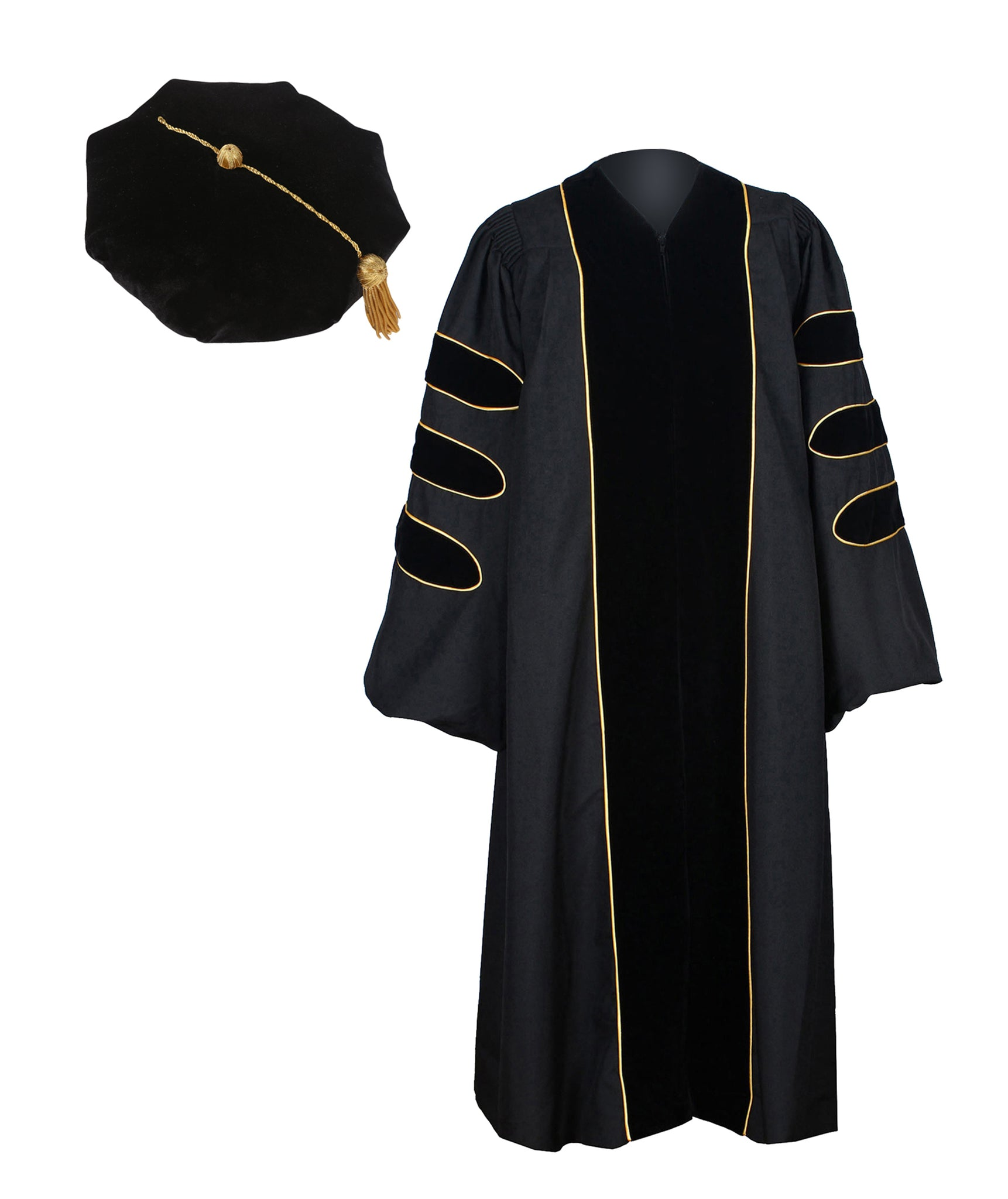 Deluxe Graduation Doctoral Gown,Hood and 8-Side Tam Package Customization