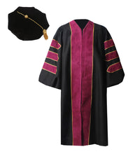 Load image into Gallery viewer, Deluxe Maroon Doctoral Graduation Gown with Gold Piping & Doctoral 8-Side Tam Package