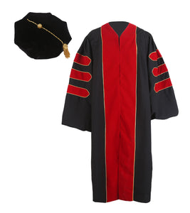Deluxe Red Doctoral Graduation Gown with Gold Piping & Doctoral 8-Side Tam Package
