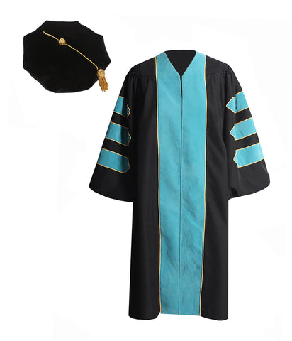 Deluxe DeepSky Blue Doctoral Graduation Gown with Gold Piping & Doctoral 8-Side Tam Package