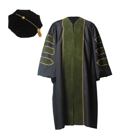 Deluxe Forest Geen Doctoral Graduation Gown with Gold Piping & Doctoral 8-Side Tam Package