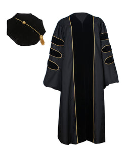 Deluxe Black Doctoral Graduation Gown with Gold Piping & Doctoral 8-Side Tam Package