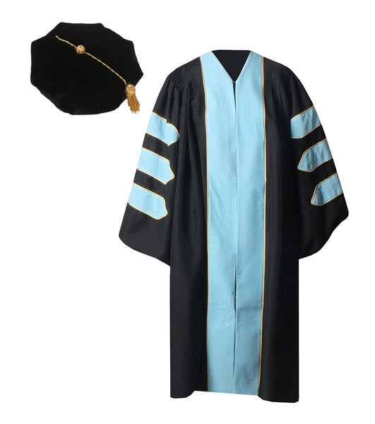 Deluxe Sky Blue Doctoral Graduation Gown with Gold Piping & Doctoral 8-Side Tam Package