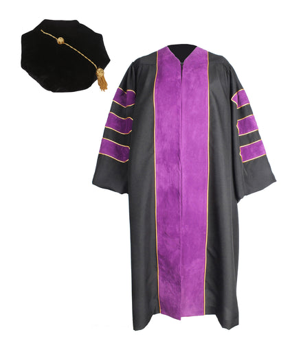 Deluxe Purple Doctoral Graduation Gown with Gold Piping & Doctoral 8-Side Tam Package