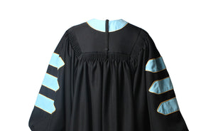 Deluxe Sky Blue Doctoral Graduation Gown Regalia Doctoral Gown Only with Gold Piping