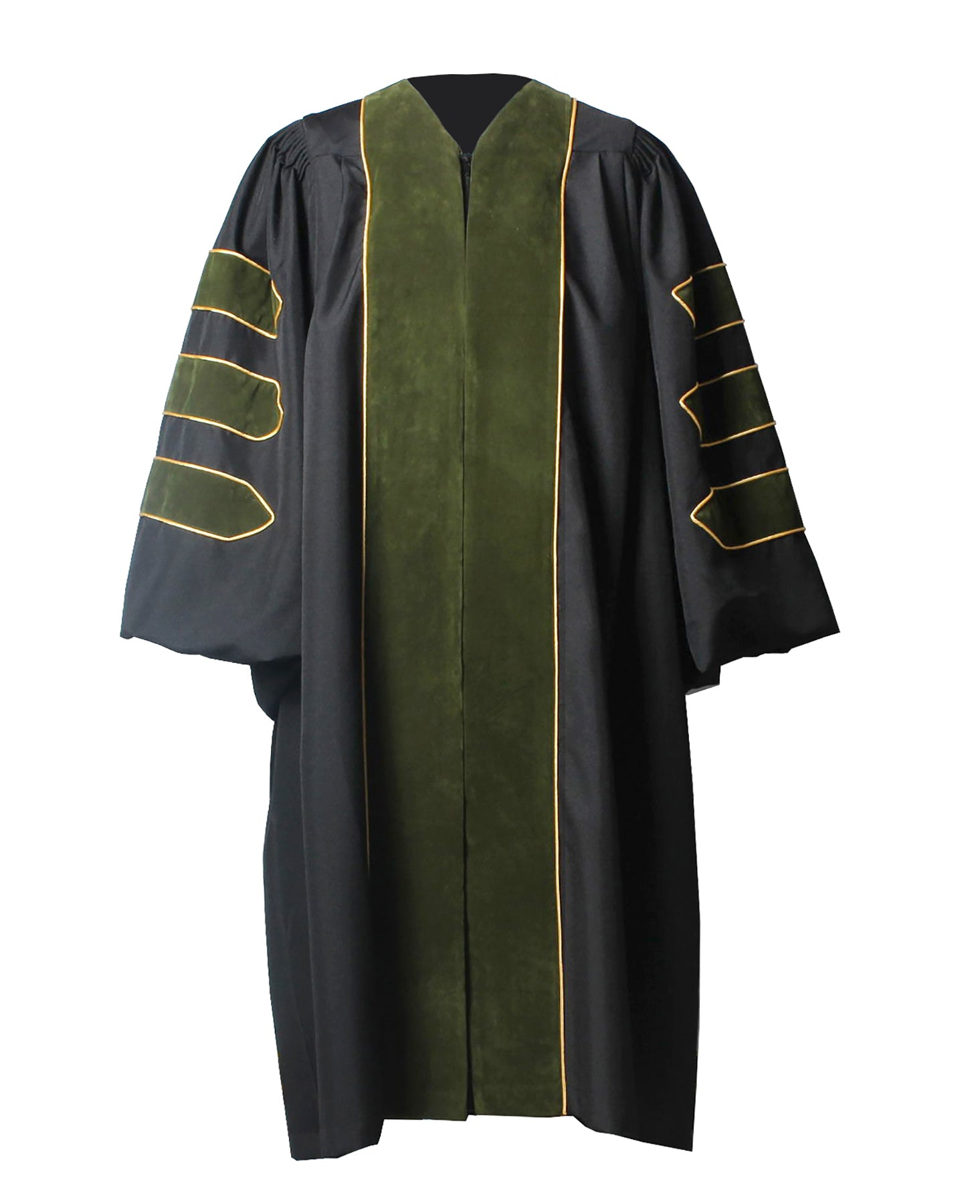 Deluxe Forest Geen Doctoral Graduation Gown Regalia Doctoral Gown Only with Gold Piping