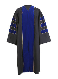 Deluxe Royal Blue Doctoral Graduation Gown Regalia Doctoral Gown Only with Gold Piping