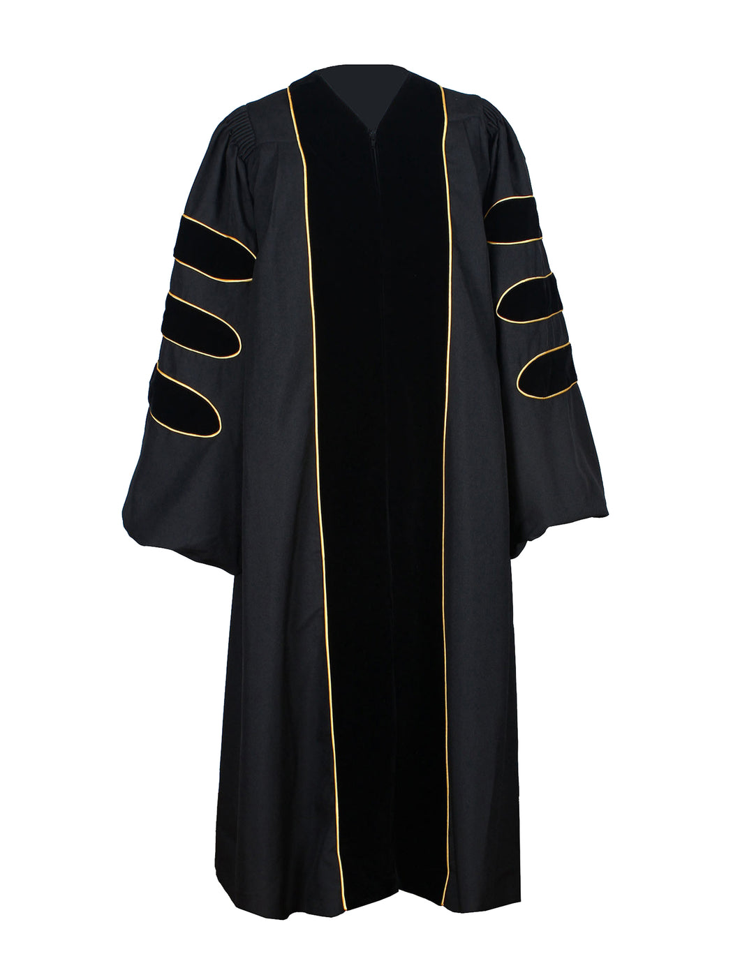 Deluxe Black Doctoral Graduation Gown Regalia Doctoral Gown Only with Gold Piping