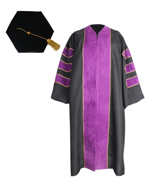 Deluxe Purple Doctoral Graduation Gown,Hood and 6-Side Tam Package Customization