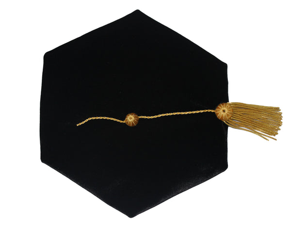 Doctoral Graduation Tam 6 Sides Tam with Gold Bullion Tassel Velvet Band