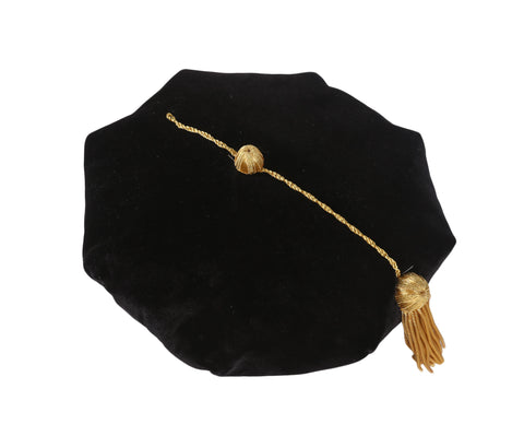 Graduation Doctoral Tam 8 Sides Tam with Gold Bullion Tassel Velvet Band