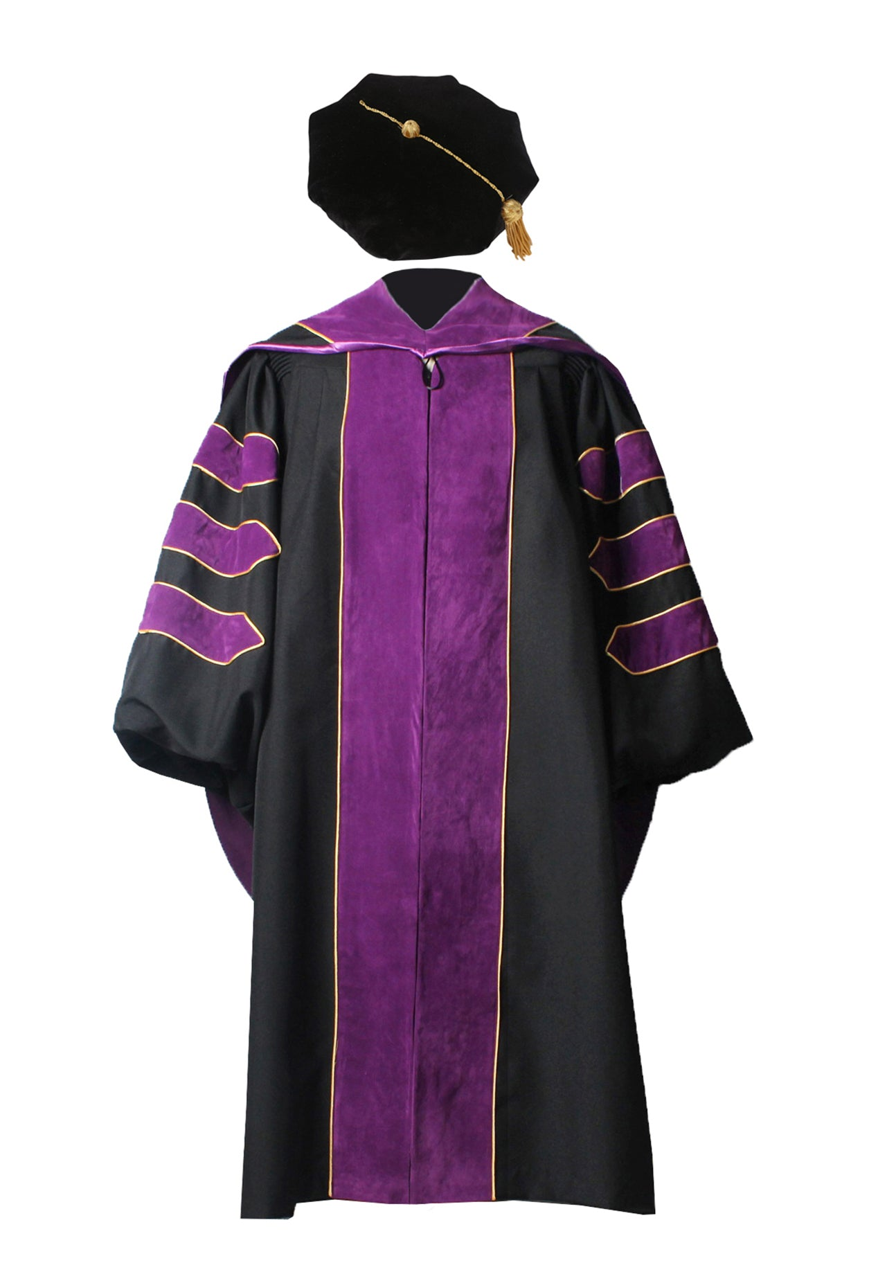 Deluxe Doctoral Graduation Gown,Phd Hood and 8-Side Tam Package Purple