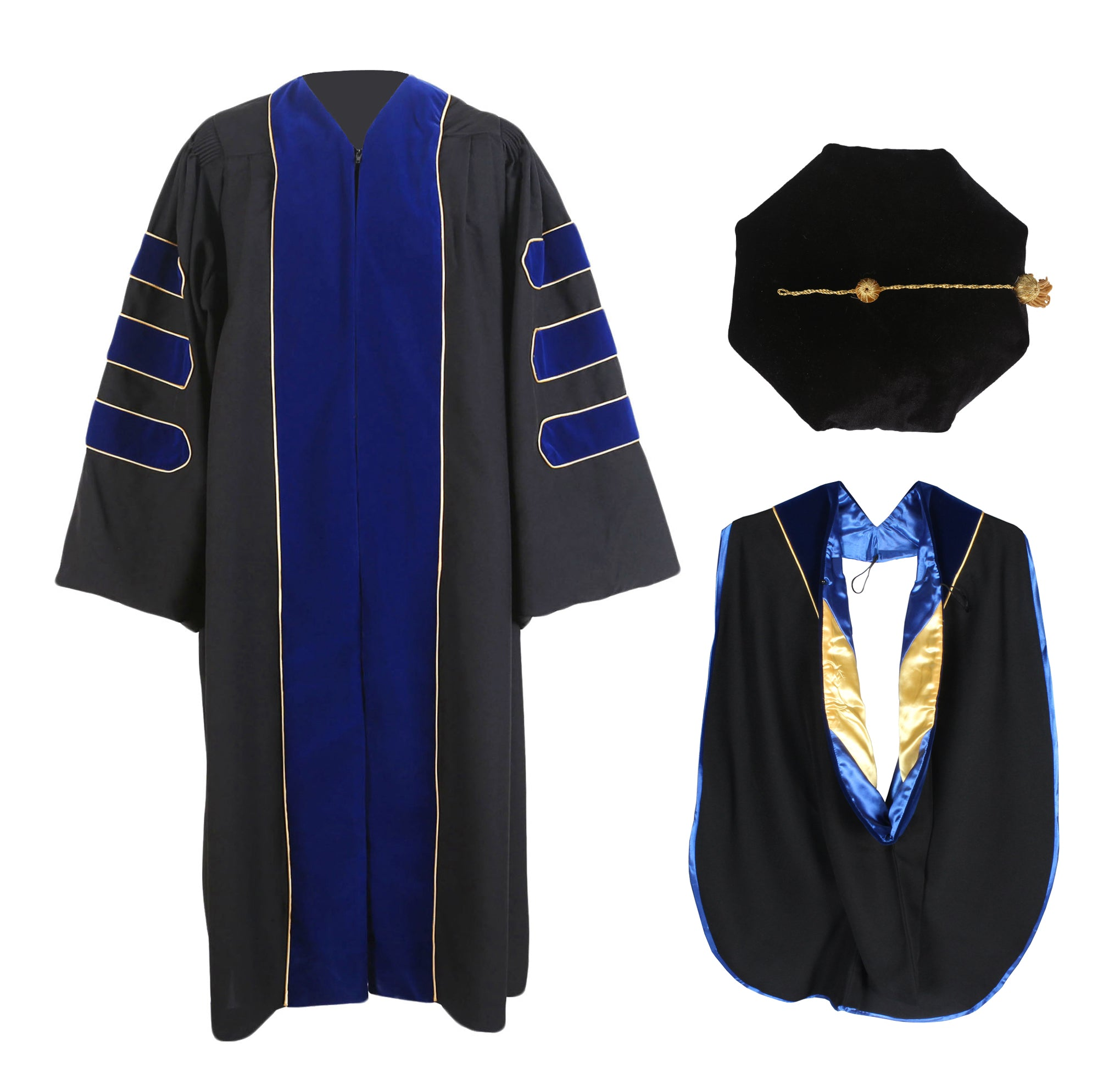 Deluxe Doctoral Gown,Hood and 8 sides Tam Package Customization