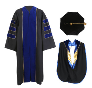 Deluxe Royal Blue Doctoral Gown with Gold Piping,Hood & 8-Side Tam Package Customization