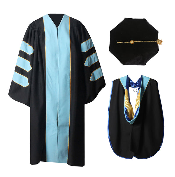 Deluxe Doctoral Graduation Gown,Phd Hood and 8-Side Tam Package Sky Blue