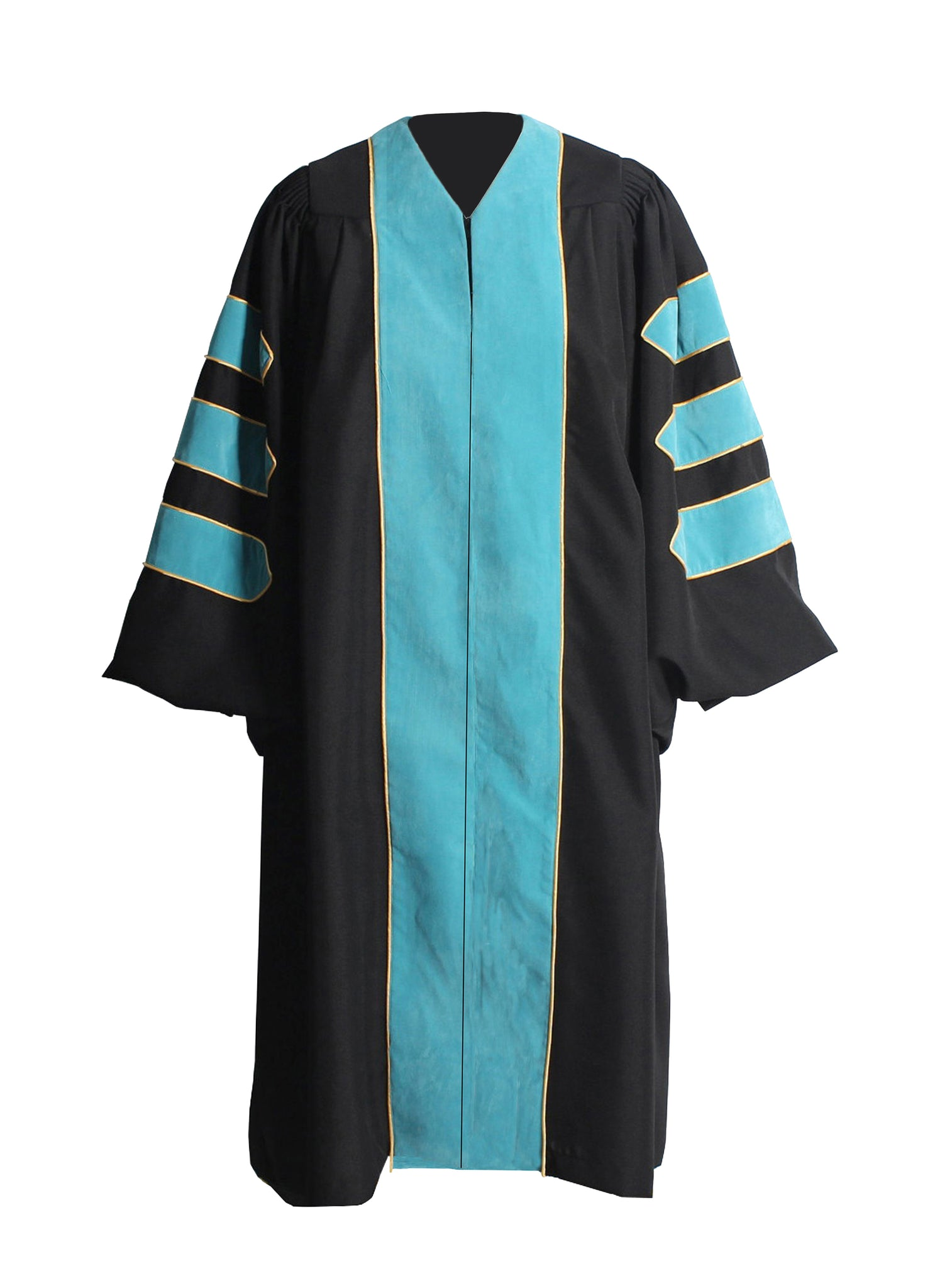 Deluxe DeepSky Blue Doctoral Graduation Gown Regalia Doctoral Gown Only with Gold Piping