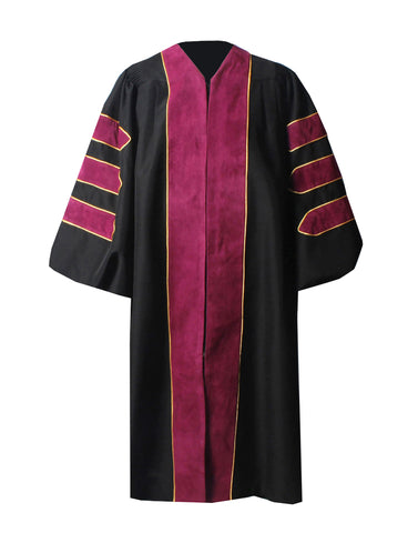 Deluxe Maroon Doctoral Graduation Gown Regalia Doctoral Gown Only with Gold Piping
