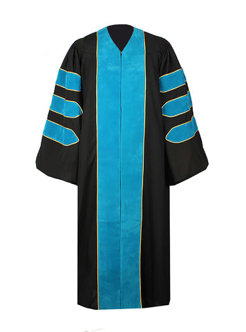 Deluxe Peacock Blue Doctoral Graduation Gown Regalia Doctoral Gown Only with Gold Piping