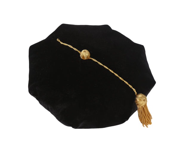 Deluxe Graduation Doctoral 8 side Tam in Black with Gold Tassel