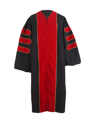 Deluxe Red Doctoral Graduation Gown Regalia Doctoral Gown Only with Gold Piping