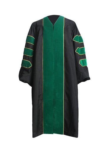 Deluxe Kelly Green Doctoral Graduation Gown Regalia Doctoral Gown Only with Gold Piping