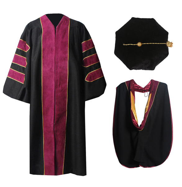 Deluxe Doctoral Graduation Gown,Phd Hood and 8-Side Tam Package Maroon