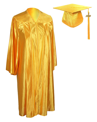 Unisex Adult Gold Graduation Shiny Gown Cap Tassel 2019 Year Charm Package