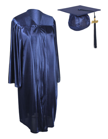 Unisex Adult Navy Blue Graduation Shiny Gown Cap Tassel 2019 Year Charm Package