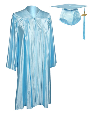 Unisex Adult Sky Blue Graduation Shiny Gown Cap Tassel 2019 Year Charm Package