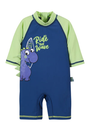 Traje de baño Grey Dino Bebé Azul piedra Black and Blue