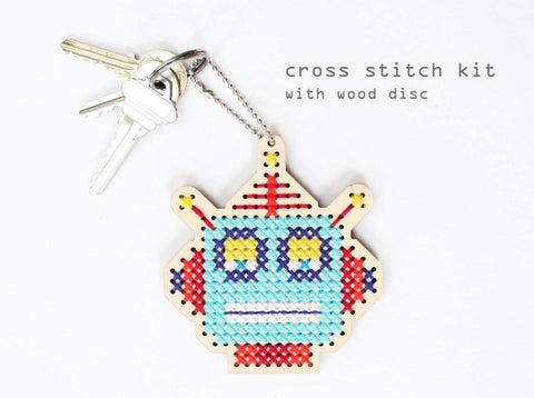 Cross Stitch Keychain Kit - Robot Robby