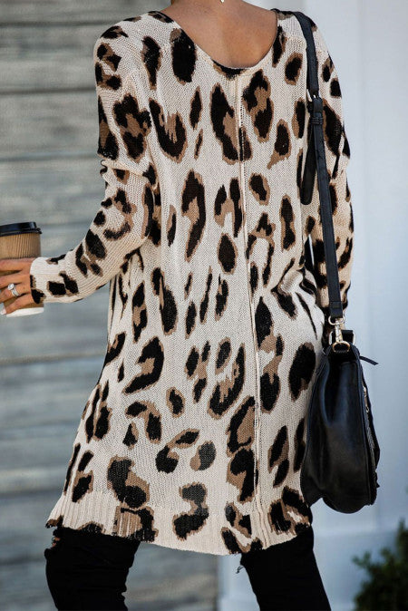 Leopard Knit Tunic Sweater with Slits