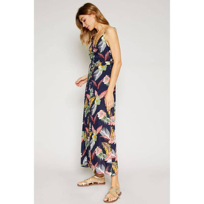 Hot Tropical Button Down Maxi Dress