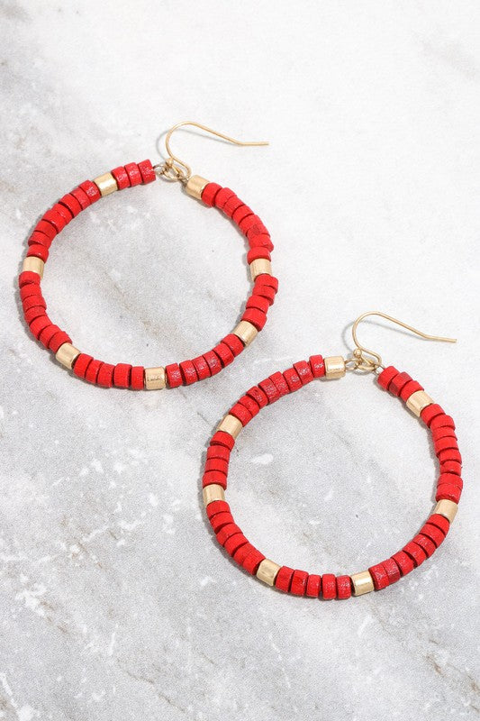 Cylinder Beaded Hoop Drop Earrings