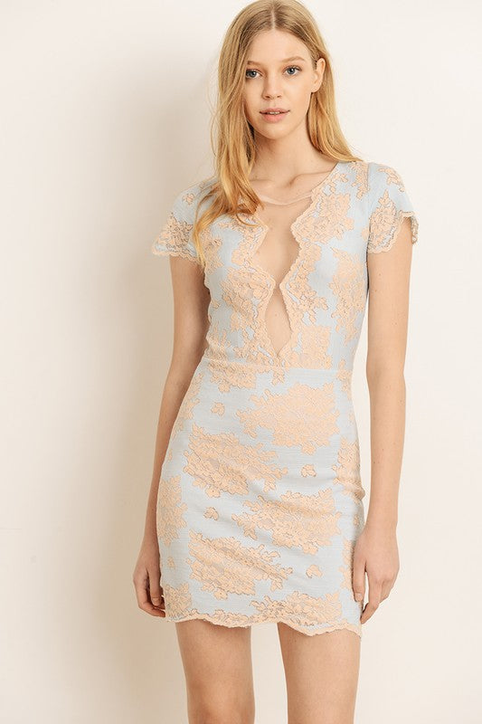 two tone lace dress with mesh lining